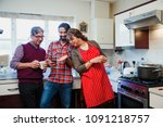 mid adult man is showing his... | Shutterstock . vector #1091218757