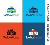 toolbox house logo and icon.... | Shutterstock .eps vector #1091227991