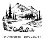 wild natural landscape with... | Shutterstock .eps vector #1091236754
