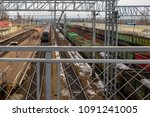 railway station in winter and...   Shutterstock . vector #1091241005