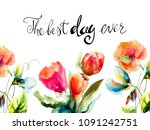 stylized flowers with title the ... | Shutterstock . vector #1091242751