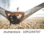summer vacations concept  happy ... | Shutterstock . vector #1091244707