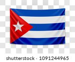 hanging flag of cuba. republic... | Shutterstock .eps vector #1091244965