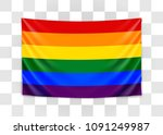 hanging flag of lgbt. tolerance ...   Shutterstock .eps vector #1091249987