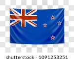 hanging flag of new zealand.... | Shutterstock .eps vector #1091253251