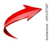 red shiny 3d arrow. vector... | Shutterstock .eps vector #1091257187