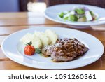 lunch at the restaurant. meat... | Shutterstock . vector #1091260361