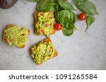 avocado guacamole on toast.... | Shutterstock . vector #1091265584