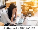 young asian woman stress with...   Shutterstock . vector #1091266169