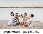 group of happy young people... | Shutterstock . vector #1091268257