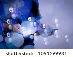 blockchain technology concept... | Shutterstock . vector #1091269931