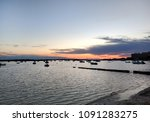 mediterranean sea and moored... | Shutterstock . vector #1091283275