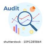 audit analysis vector flat... | Shutterstock .eps vector #1091285864