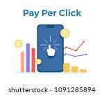 pay per click vector flat... | Shutterstock .eps vector #1091285894