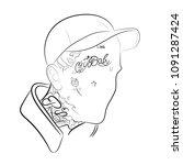 Stock vector rapper lil peep in vector 1091287424
