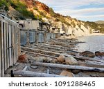 cala d'hort beach and boat... | Shutterstock . vector #1091288465