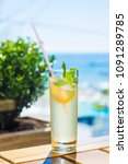 lemonade on sea background.... | Shutterstock . vector #1091289785