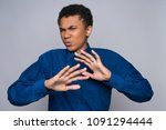 annoyed african american...   Shutterstock . vector #1091294444