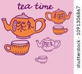 teapots  cups  pattern.  hand... | Shutterstock .eps vector #1091306867