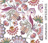 seamless ornate pattern with...   Shutterstock .eps vector #1091312411