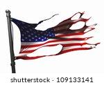 Tattered American Flag On White