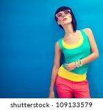 funky summer portrait of a... | Shutterstock . vector #109133579