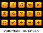 cartoon gold old square buttons ...