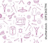 seamless pattern with tools and ... | Shutterstock .eps vector #1091343794