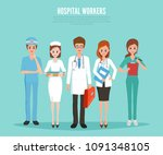 hospital worker medical staff.... | Shutterstock .eps vector #1091348105