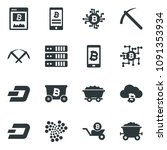 black vector icon set dash sign ... | Shutterstock .eps vector #1091353934