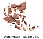 chocolate bar with nuts broken... | Shutterstock . vector #1091357147
