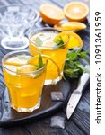 orange cocktail with ice and... | Shutterstock . vector #1091361959