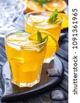 orange cocktail with ice and... | Shutterstock . vector #1091361965