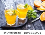 orange cocktail with ice and... | Shutterstock . vector #1091361971