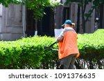 a woman shears a bush  a garden ... | Shutterstock . vector #1091376635