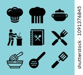 filled cooking icon set such as ...   Shutterstock .eps vector #1091376845