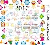 cute calendar on new year 2013...   Shutterstock . vector #109139171