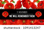 remembrance day lest we forget... | Shutterstock .eps vector #1091413247