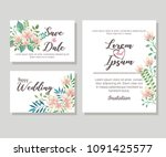 flowers and leafs invitation... | Shutterstock .eps vector #1091425577