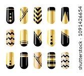 nail art. gold and black nail... | Shutterstock . vector #1091426654