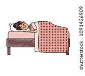 woman sleeping in bed scribble | Shutterstock .eps vector #1091426909