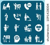 people related set of 16 icons... | Shutterstock .eps vector #1091428004