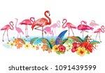 arrangement from tropical... | Shutterstock .eps vector #1091439599