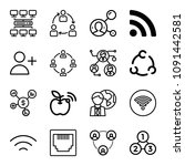 set of 16 connection outline...   Shutterstock .eps vector #1091442581