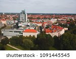 Stock photo beautiful super wide angle summer aerial view of hannover germany lower saxony seen from 1091445545
