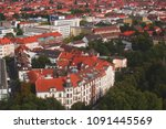 Stock photo beautiful super wide angle summer aerial view of hannover germany lower saxony seen from 1091445569