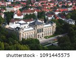 Stock photo beautiful super wide angle summer aerial view of hannover germany lower saxony seen from 1091445575