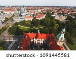 Stock photo beautiful super wide angle summer aerial view of hannover germany lower saxony seen from 1091445581