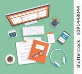 desktop with monitor  keyboard  ... | Shutterstock .eps vector #1091448044