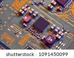 electronic circuit board close... | Shutterstock . vector #1091450099
